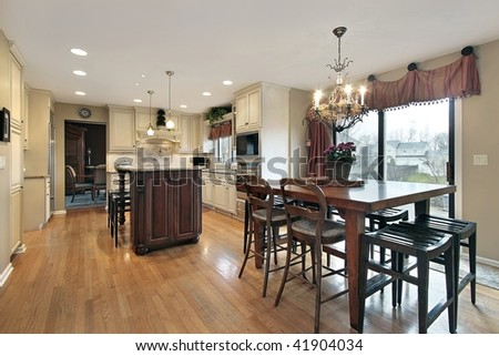Kitchen and eating area in luxury home