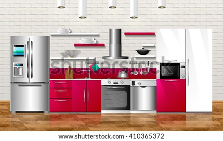 Kitchen and house appliances. Illustration design. Household kitchen appliances: cabinets, shelves,gas stove, cooker hood, refrigerator, microwave, dishwasher, cookware.  3D Illustration  - stock photo