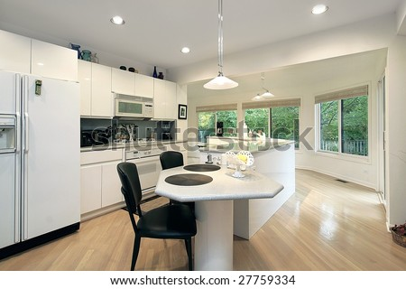 Kitchen and island - stock photo