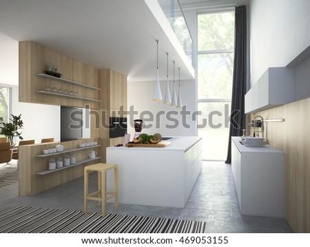Kitchen Living Room Loft Apartment 3d Stock Illustration 469053155    Shutterstock