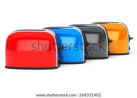 Kitchen Appliance. Row of Multicolour Vintage Toasters on a white background - stock photo