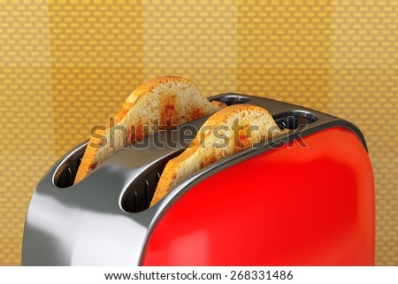 Kitchen Appliance. Toast popping out of Vintage Red Toaster on a wall background - stock photo