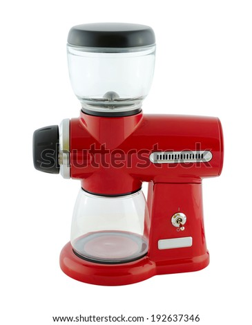 Kitchen appliances - Burr Coffee Mill, isolated on a white background - stock photo