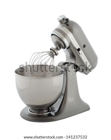 Kitchen appliances - pearl gray planetary mixer, isolated on a white background - stock photo