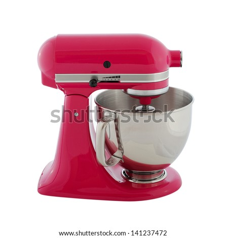 Kitchen appliances - pink planetary mixer, isolated on a white background - stock photo
