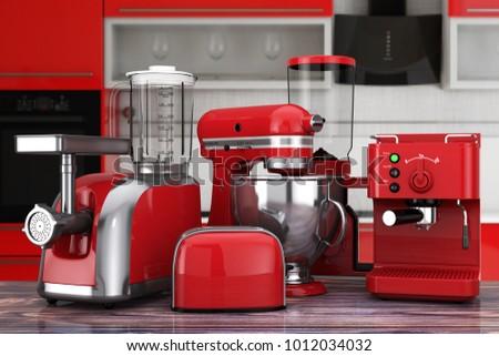 Kitchen Appliances Set. Red Blender, Toaster, Coffee Machine, Meat Ginder,  Food
