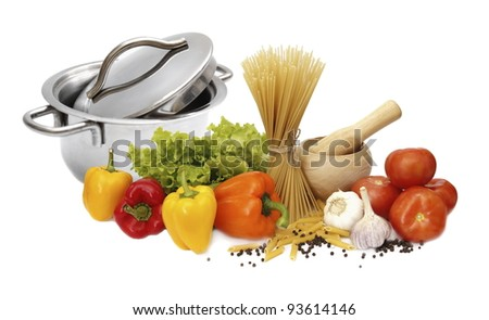 Kitchen Arrangement on healthy food - the ingredients for the dish - stock photo