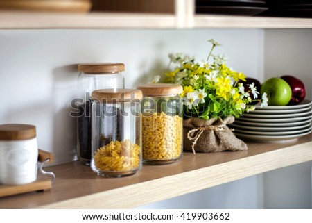 kitchen at home with healthy food