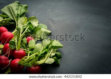 Kitchen background with fresh radish - stock photo