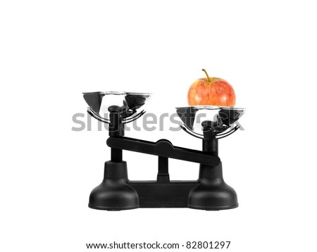Kitchen balance scales isolated against a white background - stock photo