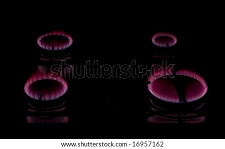 Kitchen Burners - Red Fire - stock photo