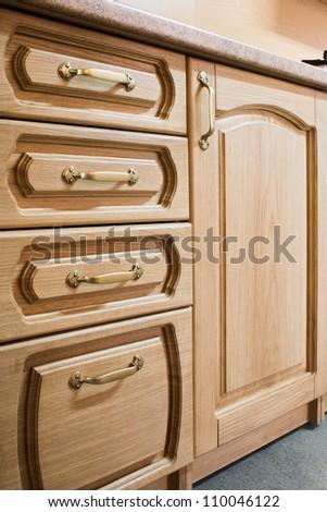 kitchen carved oak furniture - stock photo
