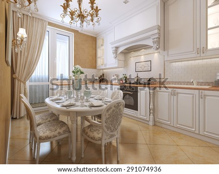 Kitchen classic style. 3d visualization