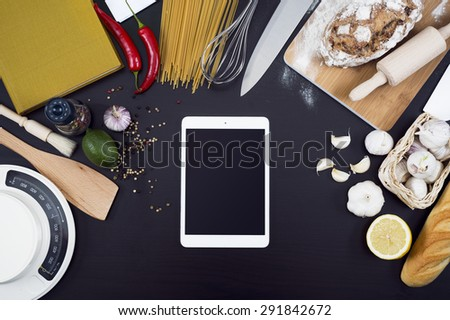 Kitchen cooking tablet pc mockup - stock photo