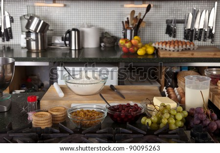 Kitchen Counter With Food kitchen counter all setup start baking stock photo 90095263