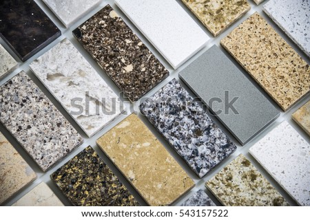 kitchen counters: different kitchen countertop colors samples lined up lined up forty five degrees