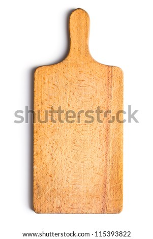 kitchen cutting board on white background - stock photo