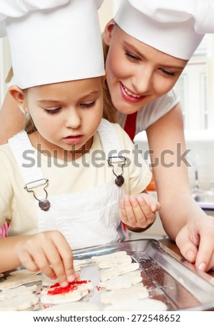Kitchen, daughter, home. - stock photo