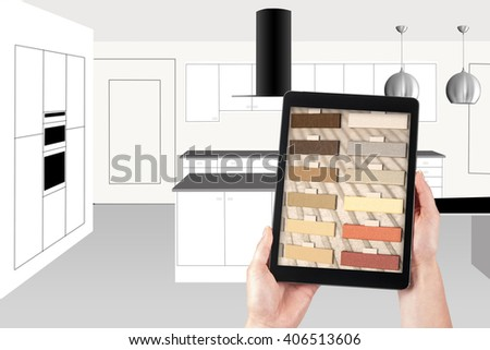 kitchen design using a tablet, unusual interior digitally modified - stock photo