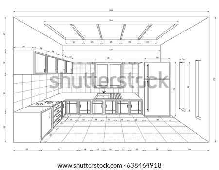 kitchen drawing perspective. Brilliant Kitchen Kitchen Drawing U2013 3D Perspective For Drawing Perspective N