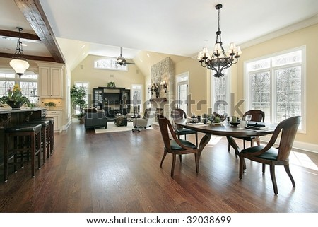 Kitchen eating area and family room - stock photo