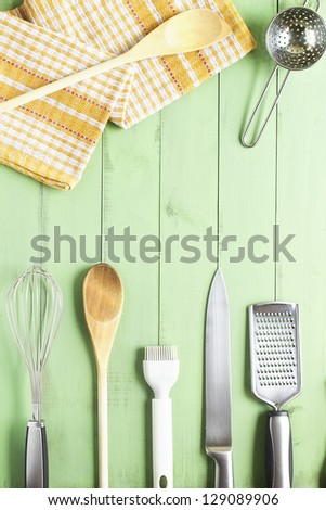 Kitchen equipment on the table - stock photo