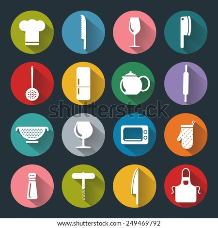 Kitchen flat icons for web, white on colored basis with long shadow - stock photo