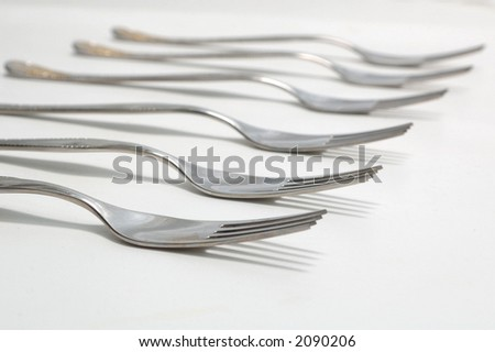 kitchen forks isolated on white