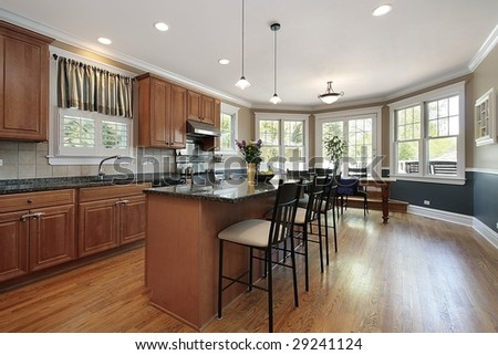 Kitchen in new construction home with eating area