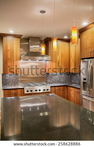Kitchen in new luxury home with Island, refrigerator, stove-top range, and cabinets - stock photo