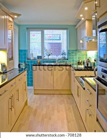 Kitchen in UK luxury home 1 - stock photo