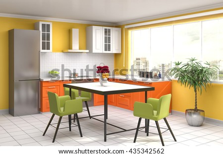 Kitchen interior. 3d illustration - stock photo