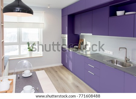 Kitchen Interior In Light Colors Scandinavian Style Of The Year 2018 Ultra Violet