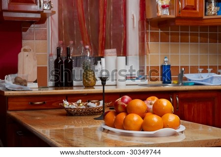 Kitchen interior with fruit on the table