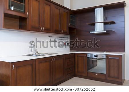 Kitchen interior, wooden elements - stock photo