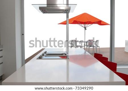 Kitchen island. - stock photo