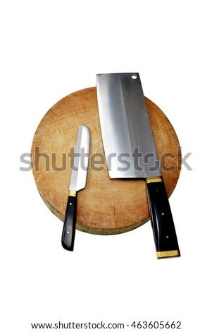 kitchen knife and old round chopping block