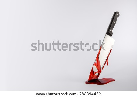 Kitchen knife dripping in blood with copy space