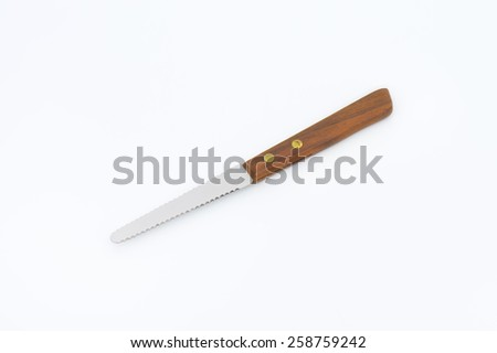 kitchen knife with wooden handle on white background
