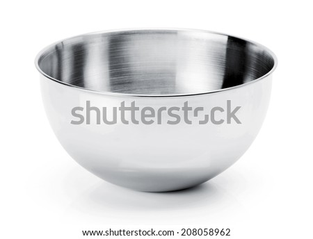 Kitchen mixing stainless steel Bowl isolated on white Background - stock photo