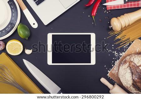 Kitchen or restaurant tablet pc mockup - stock photo