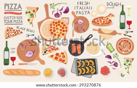 Kitchen preparations, food illustrations on table from top view. Menu design elements. - stock photo