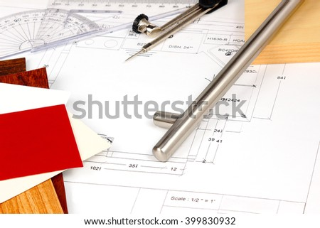 Kitchen renovation plans - stock photo