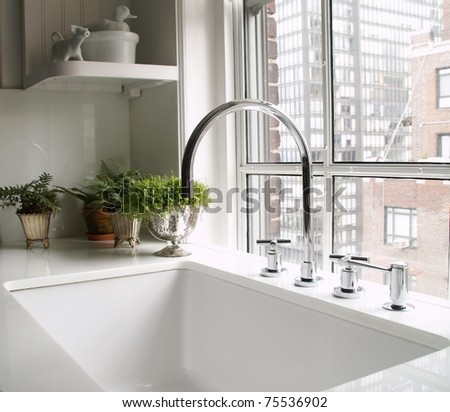 kitchen's faucet - stock photo