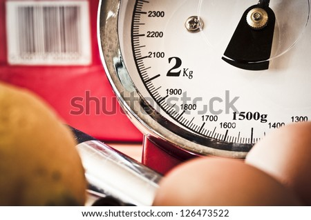 Kitchen scales - stock photo