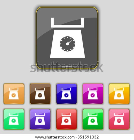 kitchen scales icon sign. Set with eleven colored buttons for your site.