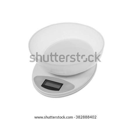 Kitchen Scales isolated on white - stock photo