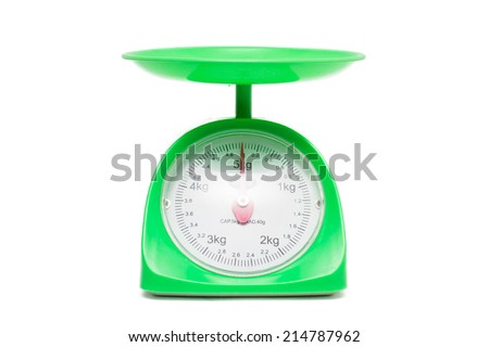 kitchen scales isolated on white background,