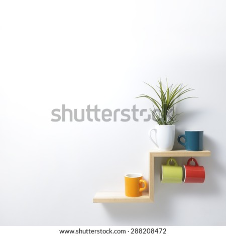 kitchen shelf - stock photo