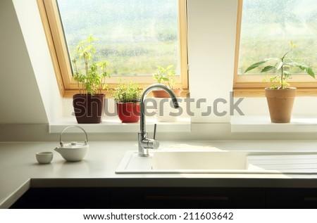 kitchen sink interior - stock photo